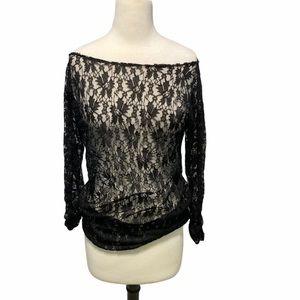 Runway MMC Sheet Lace Long Sleeve Top Black Large